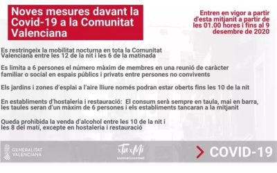 This midnight the curfew enters into force throughout the Valencian Community